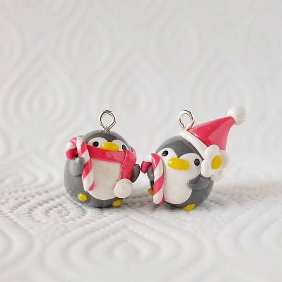 Christmas Penguin Charms l Polymer Clay l Cute & Kawaii