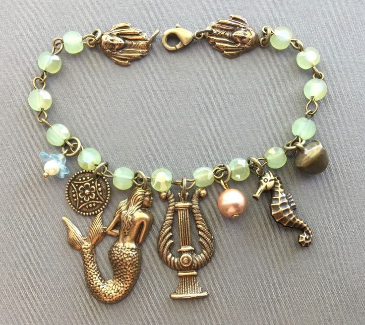 Mermaid Jewelry - Mermaid Bracelet - Ocean Jewelry - Beach Bracelet - Charm Bracelet - Seahorse Jewelry - Mythology Jewelry - Mermaids
