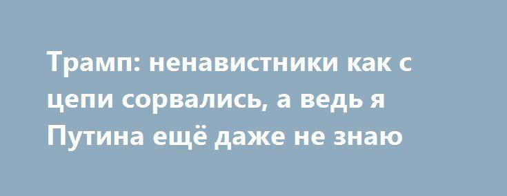 Трамп: ненавистники как с цепи сорвались, а ведь я Путина ещё даже не знаю http://kleinburd.ru/news/tramp-nenavistniki-kak-s-cepi-sorvalis-a-ved-ya-putina-eshhyo-dazhe-ne-znayu/  Дональд Трамп весьма удивлён, что его «ненавистники как с цепи сорвались», пишет The Washington Times. В своей учётной записи в Twitter новый американский президент отметил, что ещё даже не знает Владимира Путина лично и не заключал никаких сделок с Россией, тогда как администрация Обамы могла совершенно спокойно…