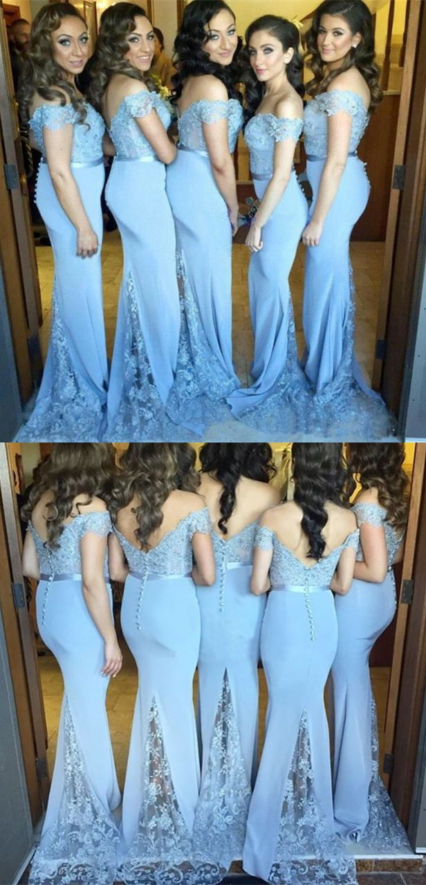 Mermaid offtheshoulder sweep train blue bridesmaid dress with