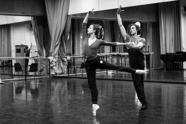"""Dorothée Gilbert, Danseuse Étoile de l'Opéra de Paris and Hervé Moreau, Danseur Étoile, rehearsing """"Prélude et Fugue"""" choregraphy by Jiri Bubenicek, at the studio Noureev of l'Opéra Garnier. Photography by James Bort"""
