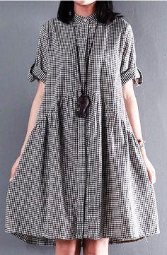 Black New cotton sundress plus size sundress casual loose summer dresses