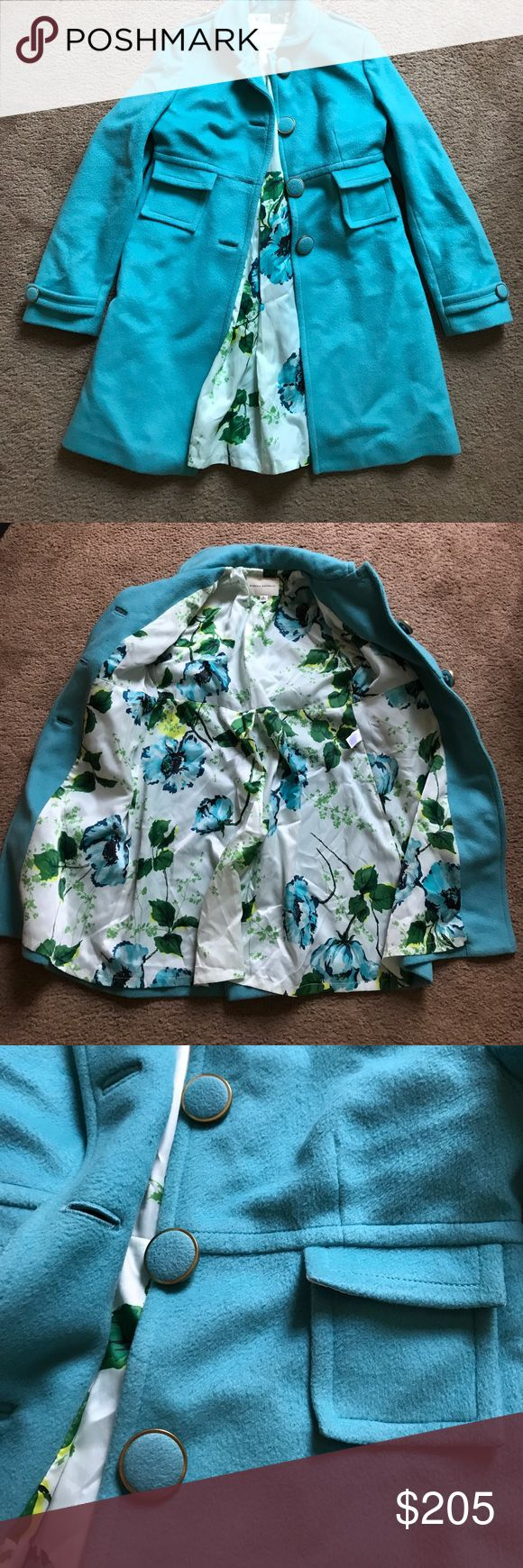Vintage BR turquoise coat with floral lining Vintage Banana Republic turquoise coat, floral lining, gold rim buttons, great condition. Banana Republic Jackets & Coats Pea Coats