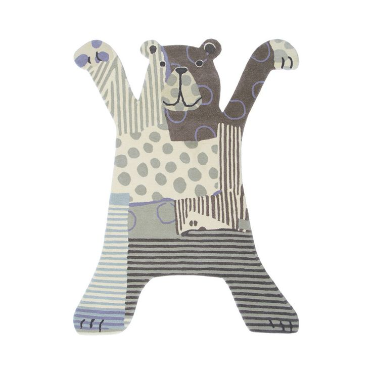 Kids Bear rug from Brink & Campman. Made from acrylic, it has been expertly hand tufted by skilled craftsman and it also anti-static and sound dampening. Also in raspberry.