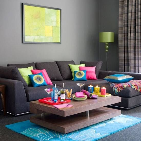 #living #room #colorful *we like wall and sofa with all the color around room
