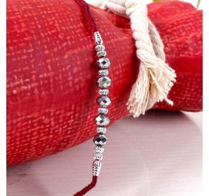 Silver Beads Rakhi