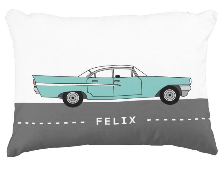 ool Mint Oldtimer Kidsroom Pillow | Personalizable name | Big mint oldtimer car - Saratoga Chrysler from the Fifties - driving on the road on front of the pillow. Personalize and write name of child on the street. Backside of pillow same colour as street on the front. Cool and fresh looking color dot for every nordic nursery and kidsroom / boy's room and of course for every child, that likes cars, especially oldtimer cars. #nordic #decor #kidsroom #nursery #boysroom #car #oldtimer #mint