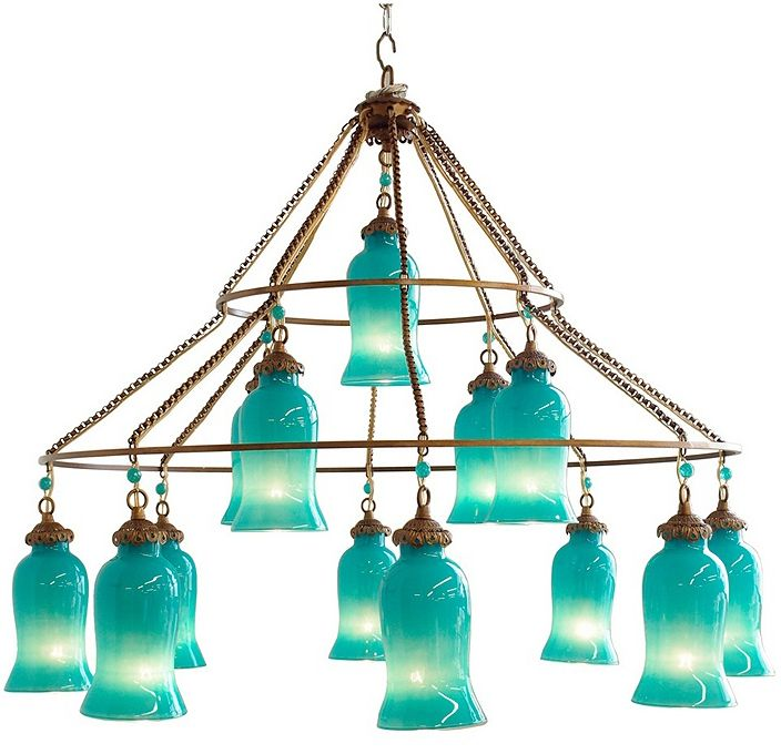 aruba blue sara chandelier - Turquoise Chandelier Light