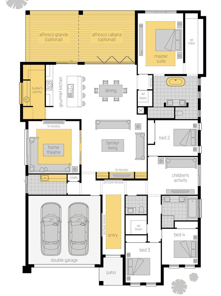 Aristocrat Executive Upgrades Floor Plan - Make the most of indoor/outdoor living with the Aristocrat. This unique Canberra design appreciates the needs of the modern family, featuring a Children's Activities room, spacious Butler's Pantry, and sumptuous Ensuite and Walk-In Robe in the Master Suite. Find out more at www.mcdonaldjoneshomes.com.au/home-designs/canberra-region/aristocrat #floorplan #floorplans #luxuryhome #housedesigns #newhomes #homedesign #mcdonaldjoneshomes #mcdonaldjones