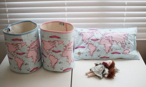GainStory  A Map of the World Fabric Bucket 2 in 1 Set by by HeyCi