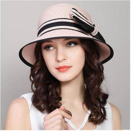 Color block bucket hat with bow for women UV protection straw sun hats