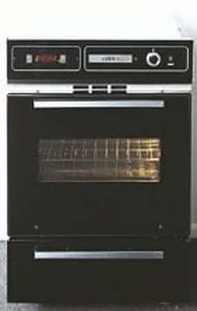 Summit TTM7212DK 24 Single Gas Wall Ove, Broiler Door, Electronic Ignition, Clock, Timer - Black Gas walloven with electronic ignition. 34 1/2 height fits many popular cutouts. Includes a digital clock and timer. Black glass oven door with window and interior light. Lower broiler compartment with black porcelain front.  #Summit #MajorAppliances