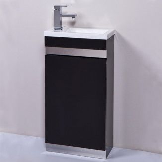 Small vanity sink ordered for the toilet - Vigo 420mm black cloakroom vanity unit. A stylish vanity unit which is ideal for smaller bathrooms such as en-suites and cloakrooms. Unit comes complete with 1 tap hole basin decorative stainless steel plates and soft close door hinges. #vanitybasin #bathroomideas #homedecor #homestyle #homeinterior #interiordesign