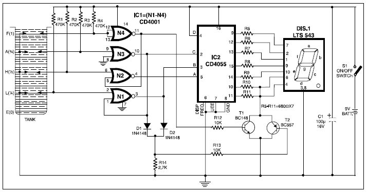 smart fluid level indicator circuit diagram