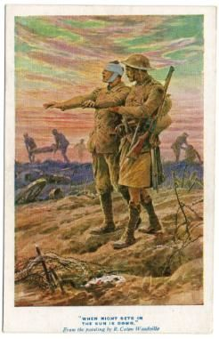 """This postcard """"When the Night Sets in the Sun is Down"""" was part a set of five created to rasie funds for the blinded soldiers in the First World War. #BlindVeteransUK #FirstWorldWar #PaintedPostcards #Postcards"""