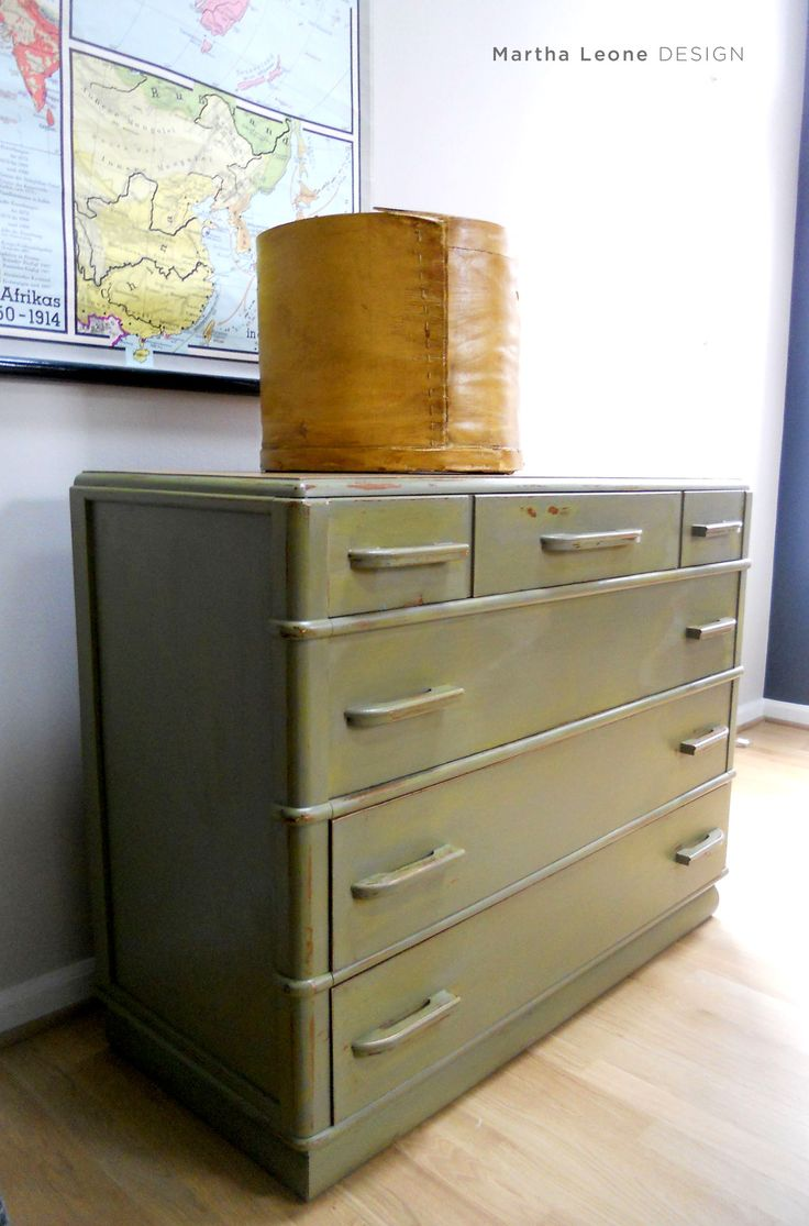 Layered Green Chest of Drawers at www.MarthaLeoneDesign.com