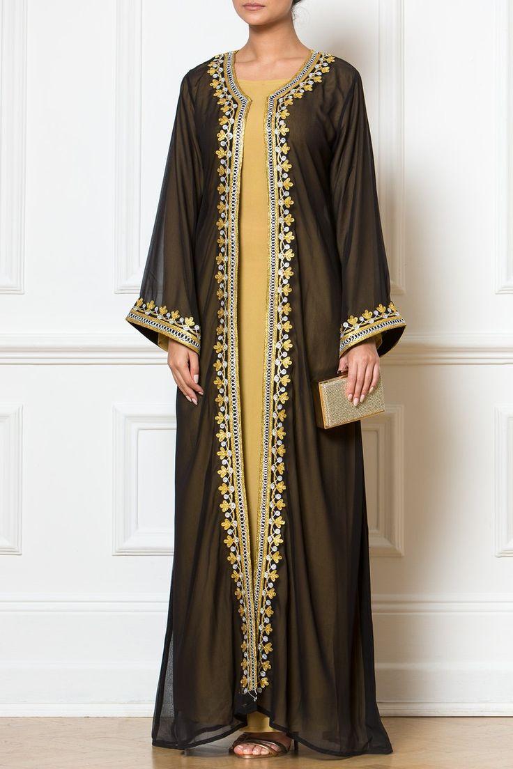 Maxi Black Embellished Kimono Dress