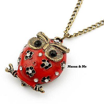 Waxing Red Owl Decorated With Rhinestones Alloy Korean Necklaces Red. Small and catchy. REPIN if you like it.😍 Only 37 IDR