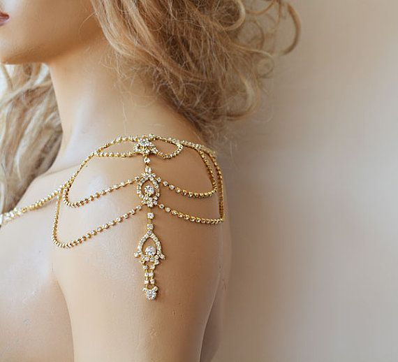 Wedding Gold Rhinestone Jewelry, Wedding Dress Shoulder, Wedding Dress…