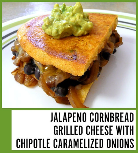 O.  My.  Yum.  Sooo good!!  I did my own thing for the jalapeno cornbread, the beans, and the guacamole, but used the recipe for the onions.  This combo is just so amazingly delicious, I can't wait to make it again!!  (Picture by me, linked to original recipe)