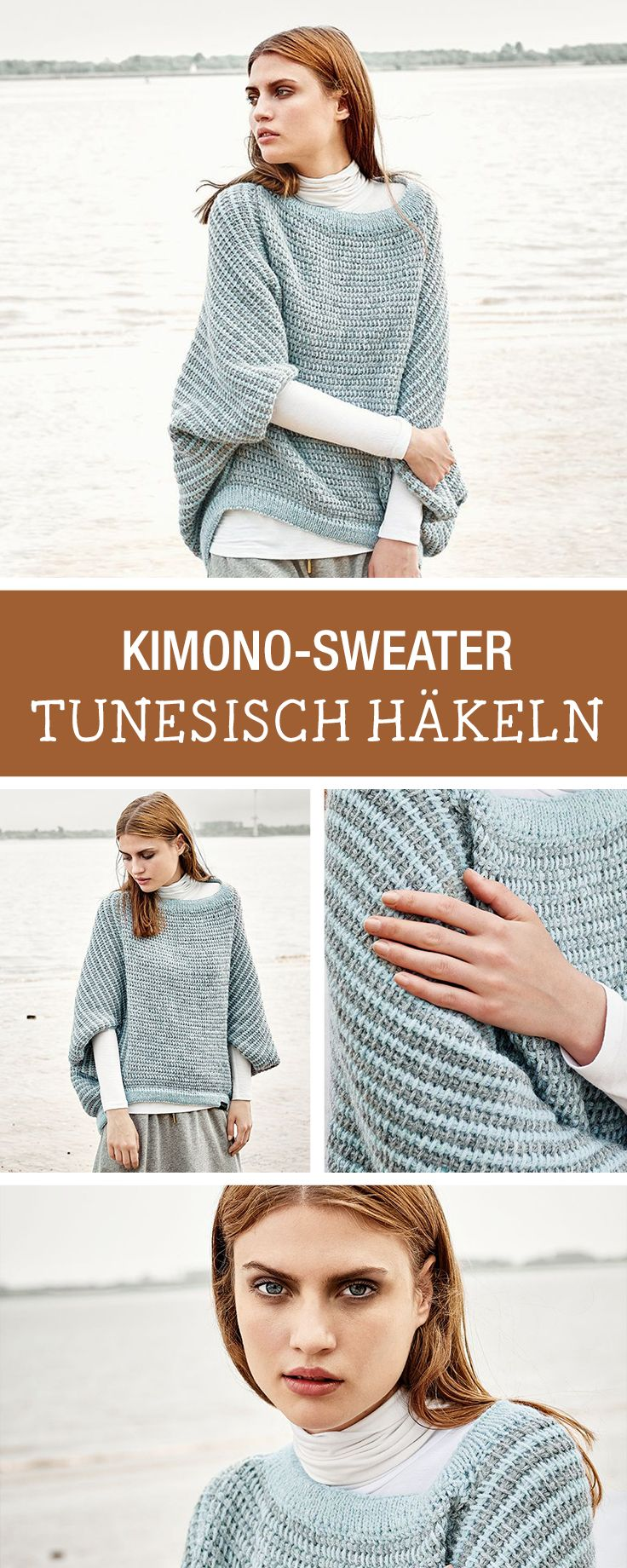 DIY-Anleitung: Diesen Herbst häkelst Du tunesisch, stelle ein Kimono-Sweater selbst her, Wintermode / DIY tutorial: this fall you'll do tunesian crocheting, winter fashion via DaWanda.com