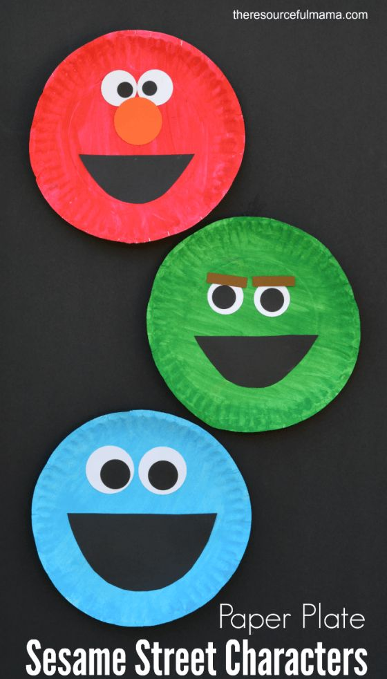 Paper plate Sesame Street craft for kids of their favorite Sesame Street characters: Elmo, Oscar the Grouch, and Cookie Monster.