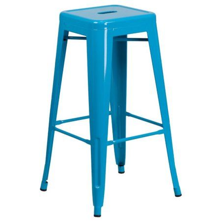Flash Furniture 30'' High Backless Indoor-Outdoor Barstool, Multiple Colors, Blue