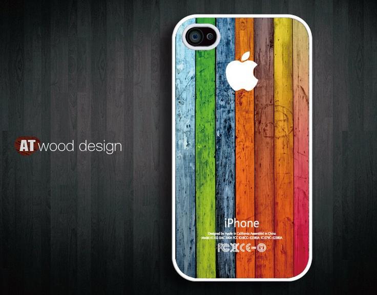 iphone case iphone 4s case iphone 4 cover Iphone Logo colorized wood texture image unique design printing. $13.99, via Etsy.