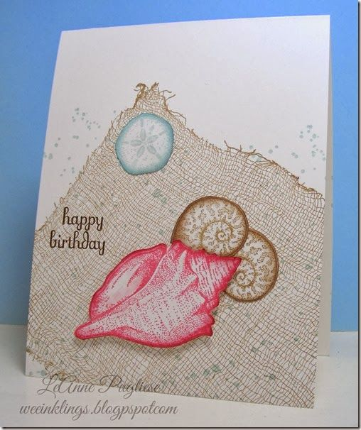 Stampin! Up Stipple Shells Birthday Card (LeAnne Pugliese WeeInklings). Need to get out my Cheesecloth background & Stipple shells again! Inspiring card!