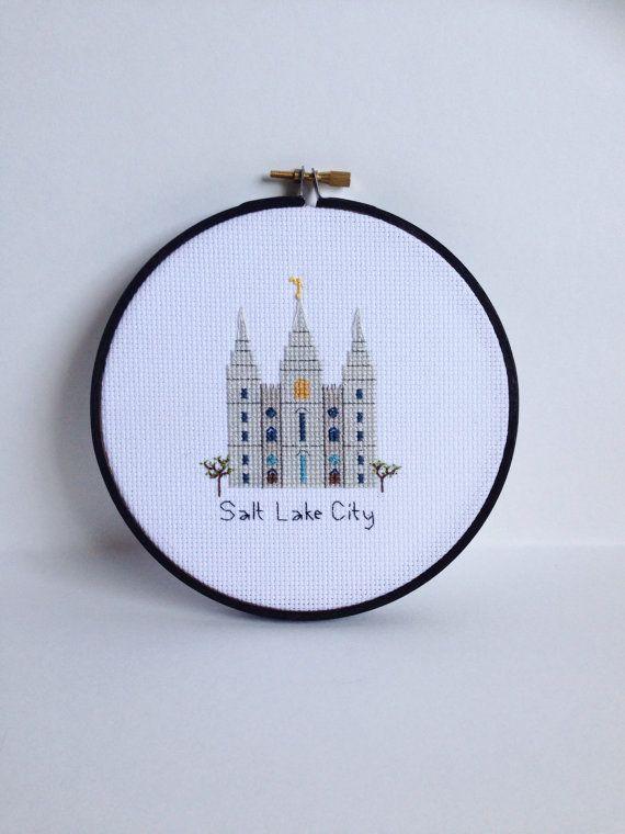 Salt Lake City Temple cross stitch by AStitchingGoodTime on Etsy