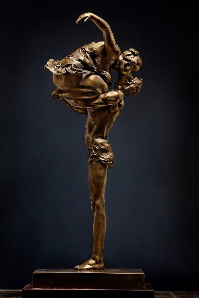 Bronze sculpture chubby asian woman