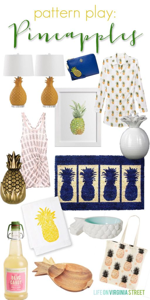 Pattern Play - Pineapples. Great round-up of this summer's hottest fruit accessory! Life On Virginia Street