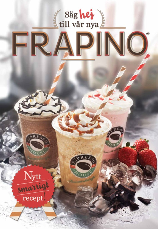 Frapino May 2013. We just launched our brand NEW frapino recipe! On the picture you can se our Frapinos from the Cream category. To the left you have Frapino Chocolate, the one in the middle is Frapino Caramel and the one on the right is Frapino Strawberry/White Chocolate. More to come!