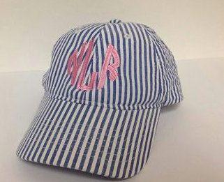 Monogrammed NAVY Seersucker Ladies Baseball Cap Hat Adult Size Initial Great Gift Idea Girl Perfect for Beach