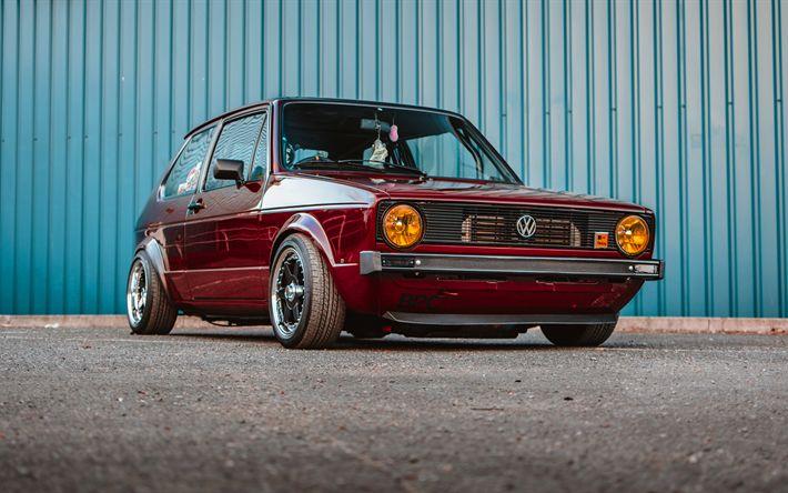 Lataa kuva Volkswagen Golf MK1, tuning, 4k, viritys, VW Golf, saksan autoja, Volkswagen