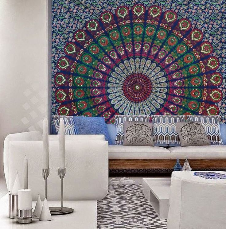 Peacock Indian Mandala Throw Hippie bedding Bedspread Wall Decor Queen Tapestry #Handmade #ArtDecoStyle