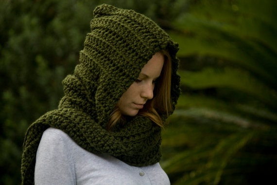 Crochet Pattern Hooded Scarf With Ears : Hooded Scarf, Olive Green Crochet Hood Crochet Scarves ...