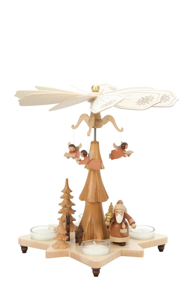 German Christmas Traditions 1 Tier Christmas Pyramid Santa Claus Natural By Christian Ulbricht German Christmas Ornaments , Christmas Pyramid Design Ideas: Decorations, Furniture
