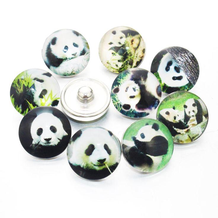 12pcs/lot Mixed Panda Snaps Jewelry 18mm Snaps Buttons Cartoon Glass Round Fit Snaps Bracelets Snaps Jewelry 7313 #Affiliate
