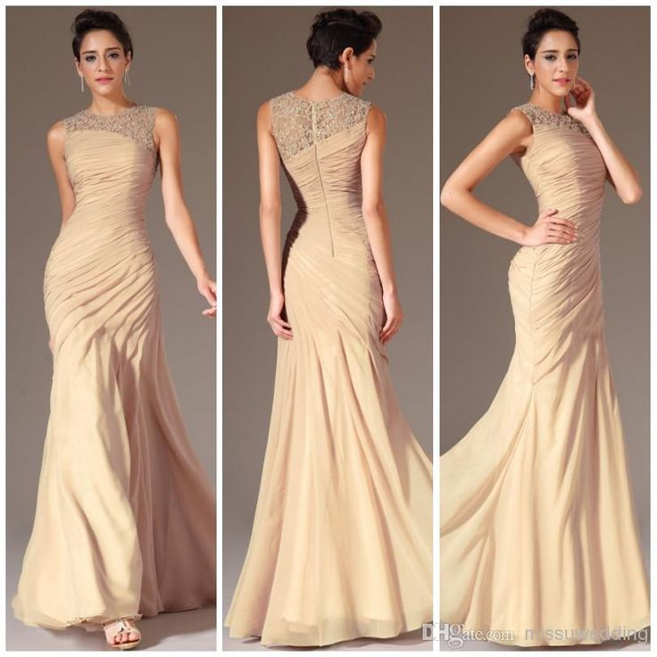 Elegant Hot Sale Jewel Mermaid Brush Chiffon Ruffles Beads Crystal Long Champagne Evening Dress Mother Of The Bride Dress Party Gowns Plus S