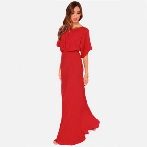 Red V-cut Backless Batwing Sleeves Maxi Dress – Daisy Dress For Less