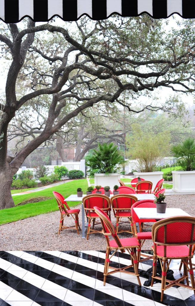 The fabulous floor from inside Hotel Cecilia in Austin, TX extends to the terrace.  How lovely!
