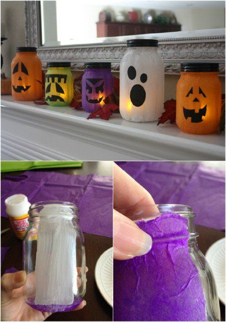 Pumpkin-less Jack-o-Lanterns. Cute because with different tissue paper you can so do this for any holiday/season!: