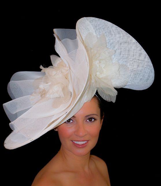 Large White Hat with Ivory Silk/Organza Flowers. Colour Match Available.