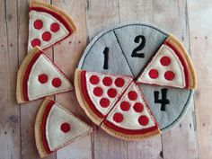 Pizza Number Matching Game, Embroidered Acrylic Felt, 6 pizza slices and felt pan, Educational Preschool Game, Made in USA