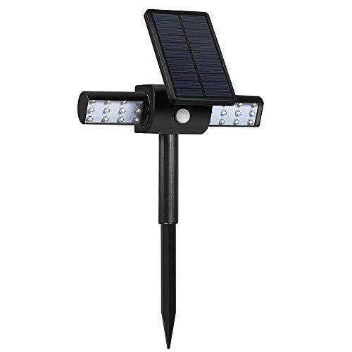 Lampe Lumineuse Solaire à Capteur, Spot Etanche IP65, 24leds Lumiere Puissante Orientation Réglable Eclairage Securité Exterieur pour…