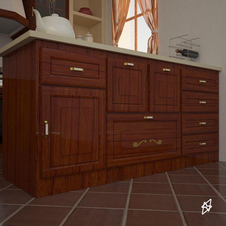 render interno cucina legno trattato   3D studio max - vray - photoshop