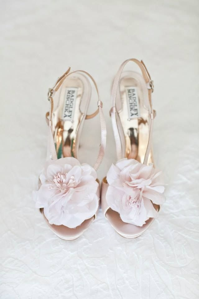 Blush and floral combine to make the perfect shoe #weddingshoes #bridebook #badgleymishka www.bridebook.co.uk