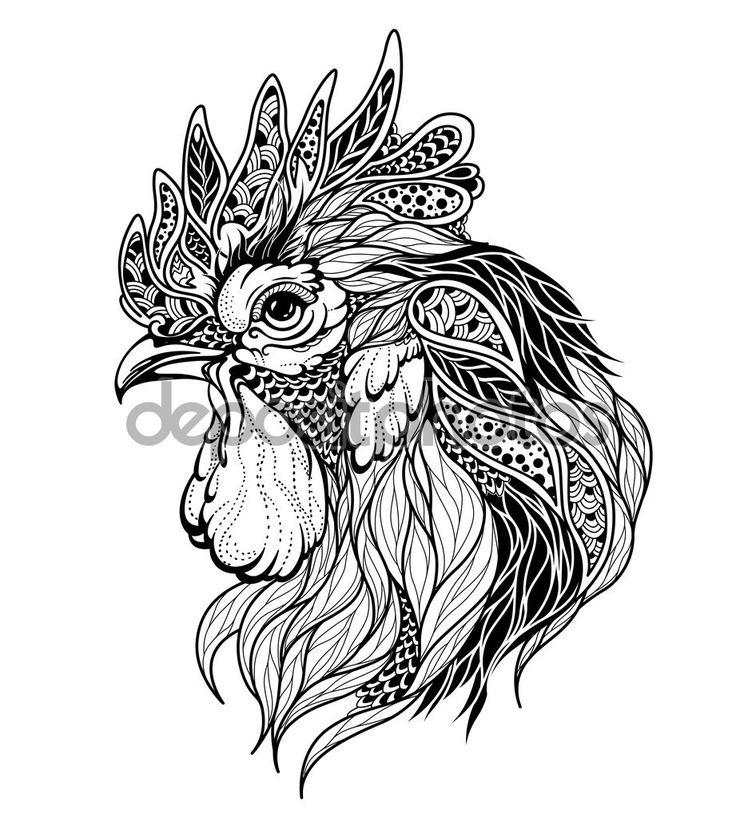 Roosters head tattoo — Stock Vector © Diana_Pryadieva #126383626