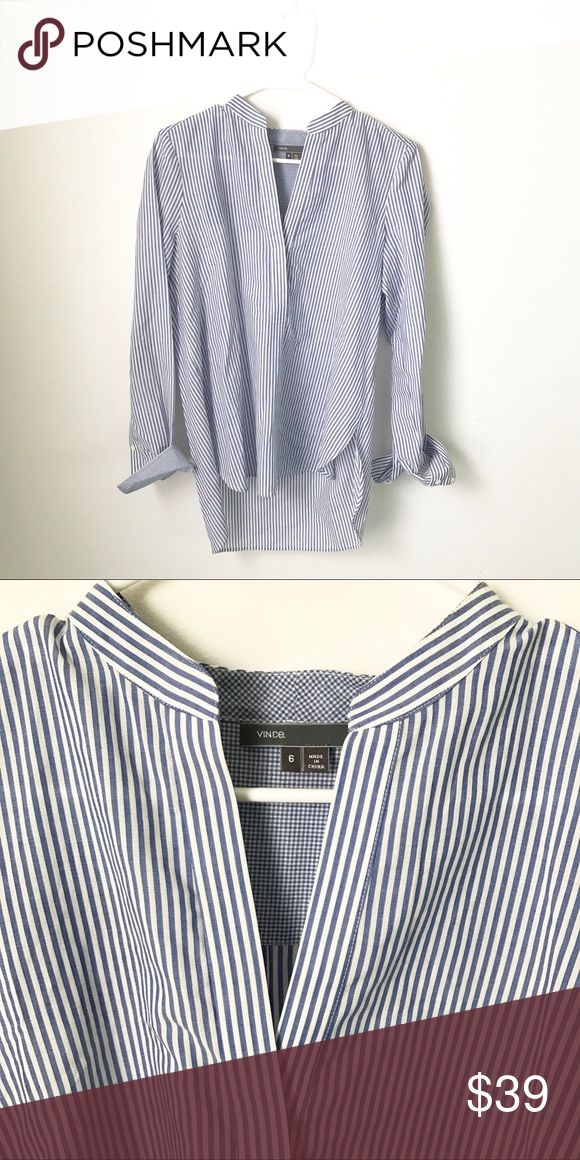 Vince Striped Top This top is a closet staple!! It looks great with jeans, or dressed up with dress pants or a skirt! You can wear it alone or layer it with a cardigan. It's super flattering on, in perfect condition & a high-quality item! Vince Tops